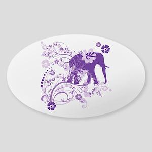 Elephant Swirls Purple Sticker (Oval)