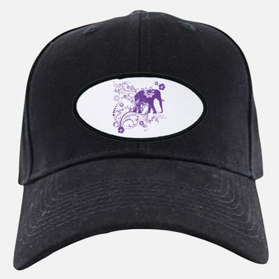 Elephant Swirls Purple Baseball Hat