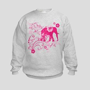 Elephant Swirls Pink Kids Sweatshirt