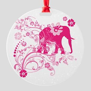 Elephant Swirls Pink Round Ornament