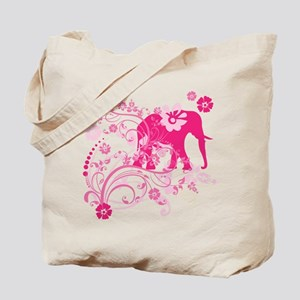Elephant Swirls Pink Tote Bag