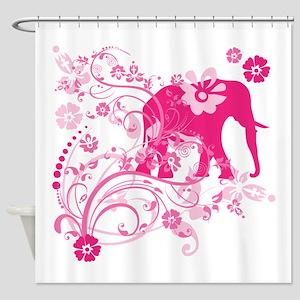Elephant Swirls Pink Shower Curtain
