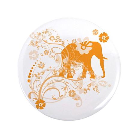 "Elephant Swirls Orange 3.5"" Button (100 pack)"