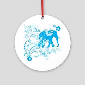Elephant Swirls Blue Ornament (Round)