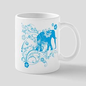 Elephant Swirls Blue Mug