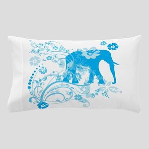 Elephant Swirls Blue Pillow Case