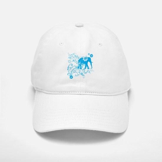 Elephant Swirls Blue Baseball Baseball Cap