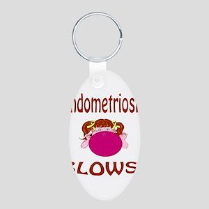 Endometriosis Blows! Aluminum Oval Keychain