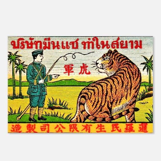 Antique Thailand Tiger Tamer Matchbox Label Postca