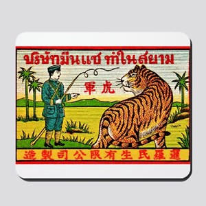 Antique Thailand Tiger Tamer Matchbox Label Mousep
