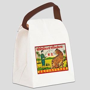 Antique Thailand Tiger Tamer Matchbox Label Canvas
