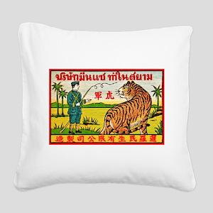 Antique Thailand Tiger Tamer Matchbox Label Square