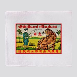Antique Thailand Tiger Tamer Matchbox Label Stadi