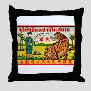 Antique Thailand Tiger Tamer Matchbox Label Throw