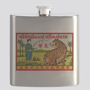 Antique Thailand Tiger Tamer Matchbox Label Flask