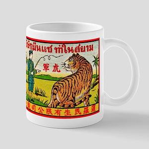 Antique Thailand Tiger Tamer Matchbox Label Mug