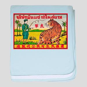 Antique Thailand Tiger Tamer Matchbox Label baby b