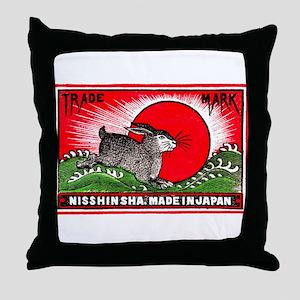 Antique Japanese Rabbit Matchbox Label Throw Pillo