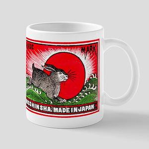 Antique Japanese Rabbit Matchbox Label Mug