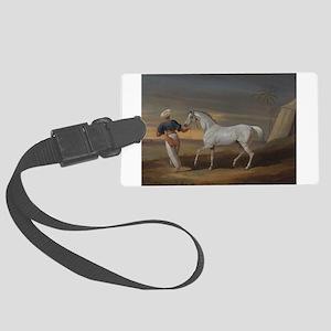 White Arabian Horse Large Luggage Tag