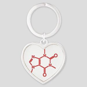 Caffeine Molecule Red Heart Keychain