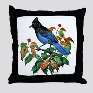 A Blue Stellers Jay in Dogwood Tree Throw Pillow