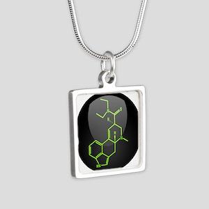 LSD molecule button Silver Square Necklace