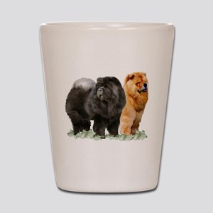 red and black chows Shot Glass