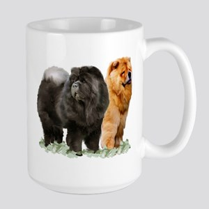 red and black chows Large Mug
