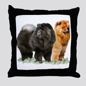 red and black chows Throw Pillow