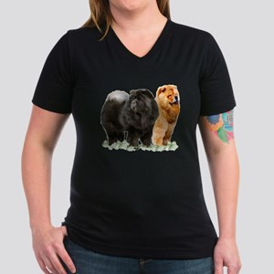 red and black chows Women's V-Neck Dark T-Shirt