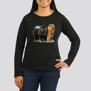 red and black chows Women's Long Sleeve Dark T-Shi