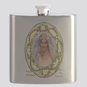 Retro bride in a floral frame Flask