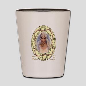 Retro bride in a floral frame Shot Glass