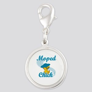 Moped Chick #3 Silver Round Charm