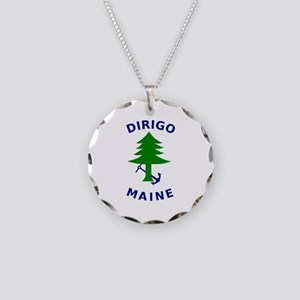 Merchant and Marine Flag of Maine Necklace Circle