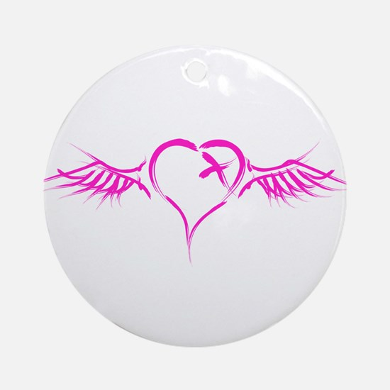Emo Flying Heart Ornament (Round)