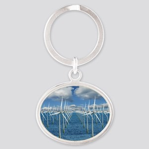 Wind turbines - Oval Keychain