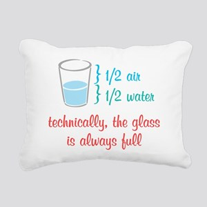 Glass Always Full Rectangular Canvas Pillow