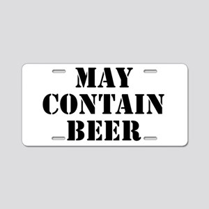 May Contain Beer Aluminum License Plate