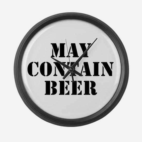 May Contain Beer Large Wall Clock