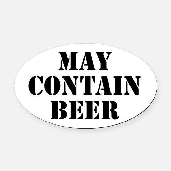 May Contain Beer Oval Car Magnet