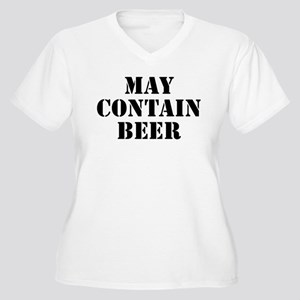 May Contain Beer Women's Plus Size V-Neck T-Shirt