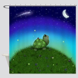 Turtle Moon And Stars Shower Curtain