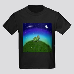 Turtle Moon and Stars Kids Dark T-Shirt