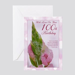 100th birthday greeting cards cafepress 100th birthday card with pink flower and ice bookmarktalkfo