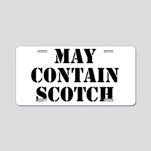 May Contain Scotch Aluminum License Plate
