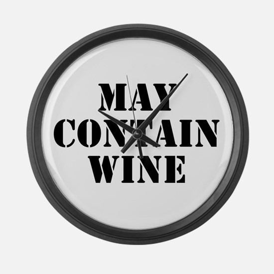 May Contain Wine Large Wall Clock