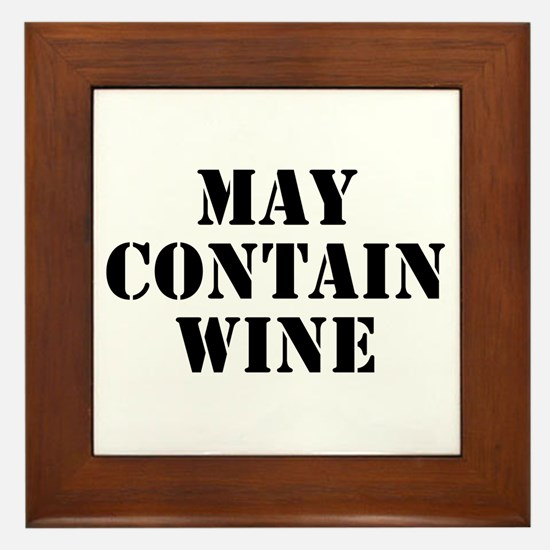 May Contain Wine Framed Tile