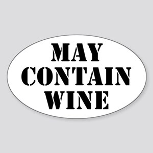 May Contain Wine Sticker (Oval)